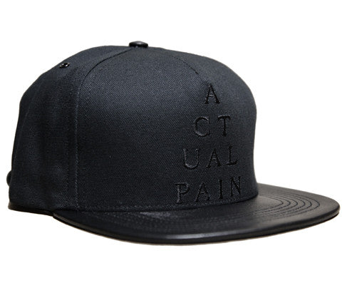 Pyramid Logo // Black on Black // Leather and Duck Cloth Hat