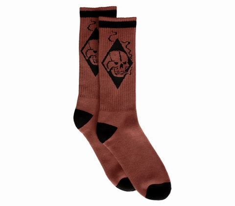 Smoking Skull // Knit Socks // Crimson Red