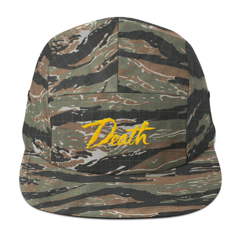 Death // 5 Panel Hat // Gold Embroidery