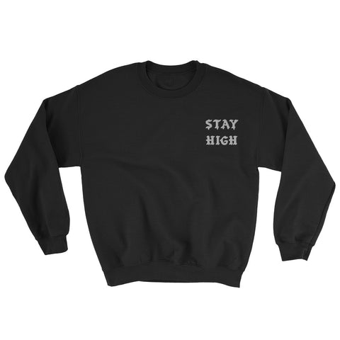 STAY HIGH // EMBROIDED LOGO // BLACK SWEATER
