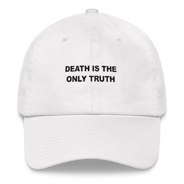 Death Is The Only Truth // Unstructured Cotton Twill Hat // White