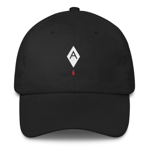 Diamond Blood Drop // UNSTRUCTERED TWILL HAT // BLACK