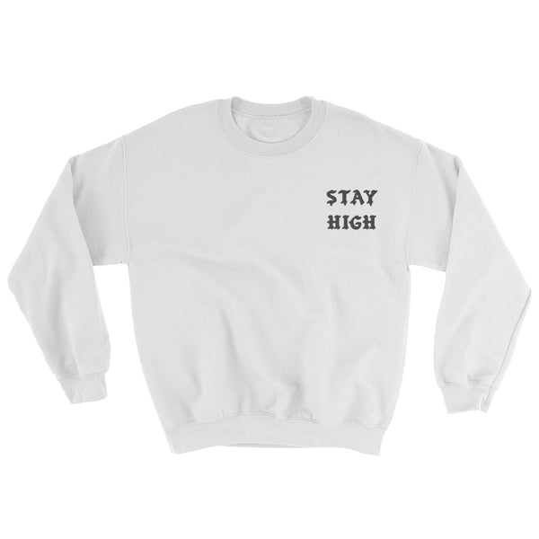 STAY HIGH // EMBROIDED LOGO // WHITE SWEATER