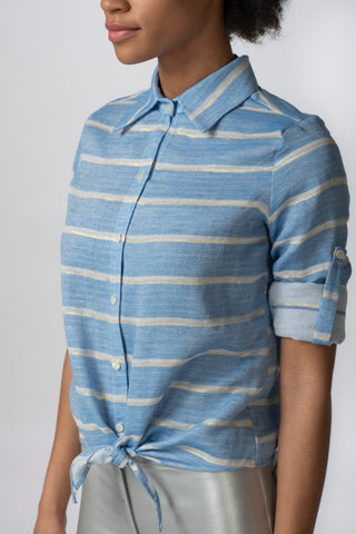 Cabana Blouse, Lurex Stripe