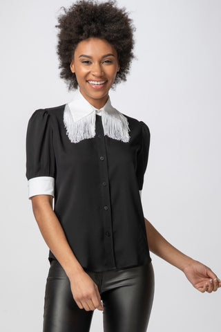 Fringe Blouse, Black