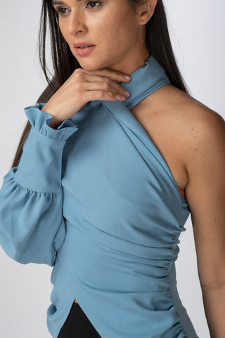 One-Shoulder Criss-Cross Blouse