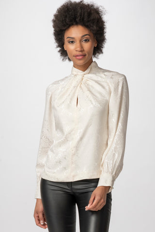 Twisted Silk Mock Turtleneck Blouse