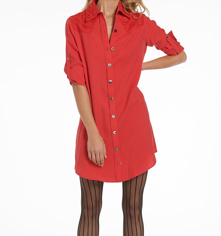 Varon Shirt Dress with Lace Trim
