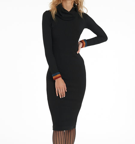 Turtleneck Dress with Lurex Trim