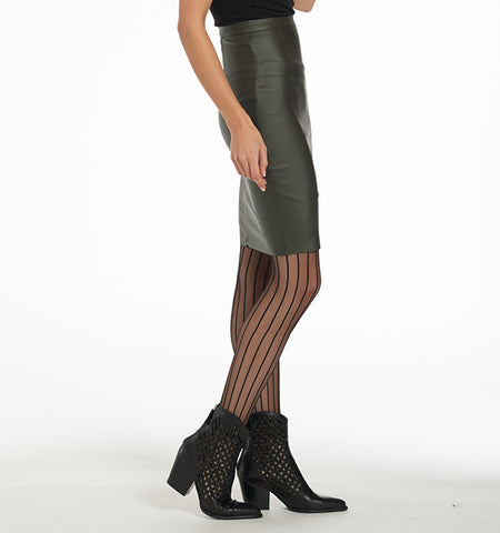 BA Waxed Pencil Skirt, Fatigue Green