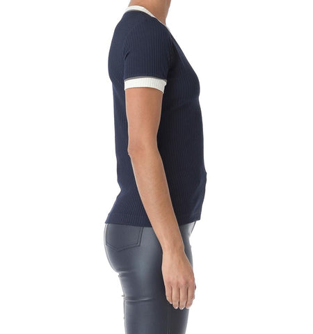 Desire V-Neck T-Shirt, Navy/White