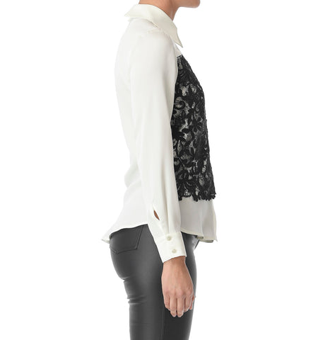 Macrame Top, Black/White