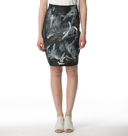 BA Painted Waxed Pencil Skirt, Trazos