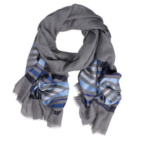 Wool/Silk Horizontal Stripes Scarf - Blue/Silver