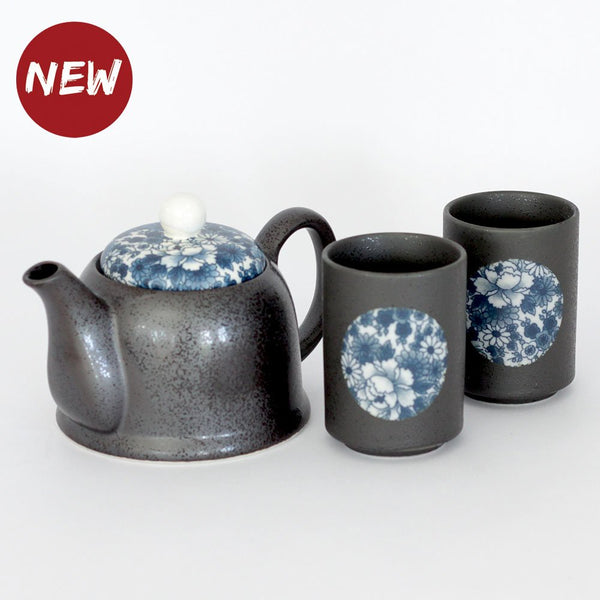 Tea Pot & 2 Cups Set - Yuzen Blue