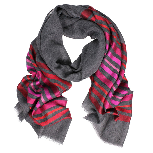 Wool/Silk Horizontal Stripes Scarf - Red/Pink