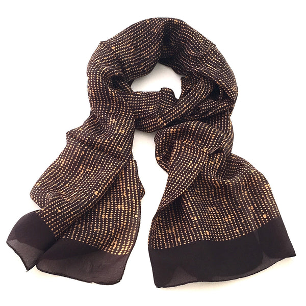 Pure Silk Scarf - Brass Dots on Chocolate