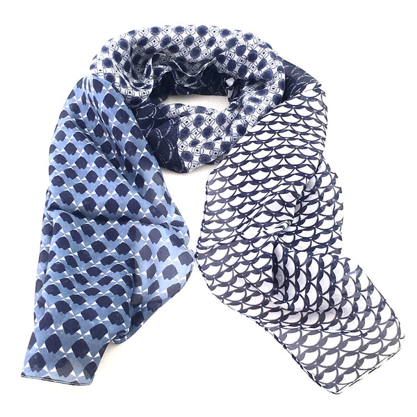 Pure Silk Scarf - Patchwork Blues