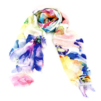 Silk & Modal Wrap - Watercolour Garden