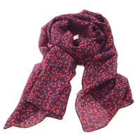 Pure Silk Scarf - Red Berries on Navy