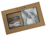 Muslin Wrap & Pram Clip Gift Set - Grey Feather
