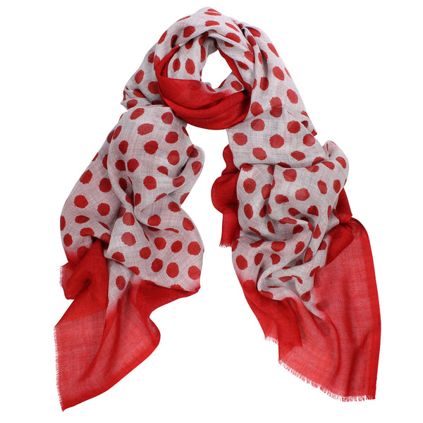 Wool Silk Spot Scarf - Red