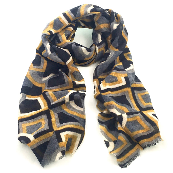 Pure Fine Wool Scarf - Geometric