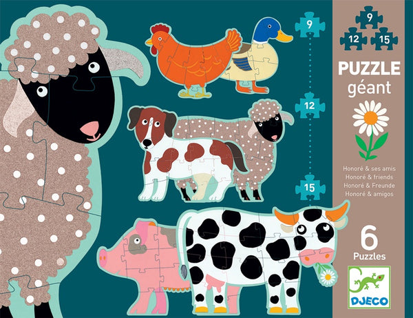 Giant Puzzle 6 Set - Farm Animals