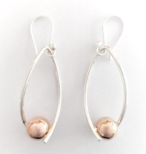 Silver Twisted Drop With Copper Ball Earrings