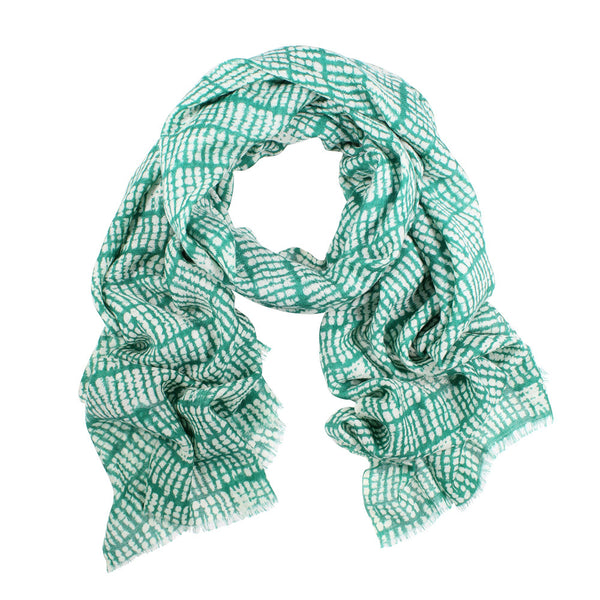Panama Wool/Silk Scarf - Emerald/Cream