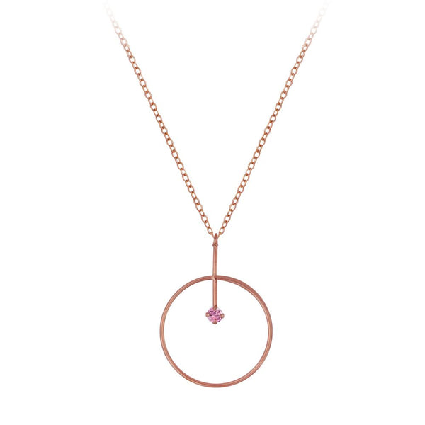 Silver & Cubic Zirconia Circle Pendant - Rose Gold/Pink