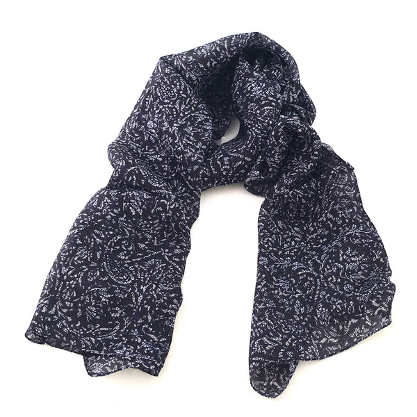 Pure Silk Scarf - Black/Navy Vine