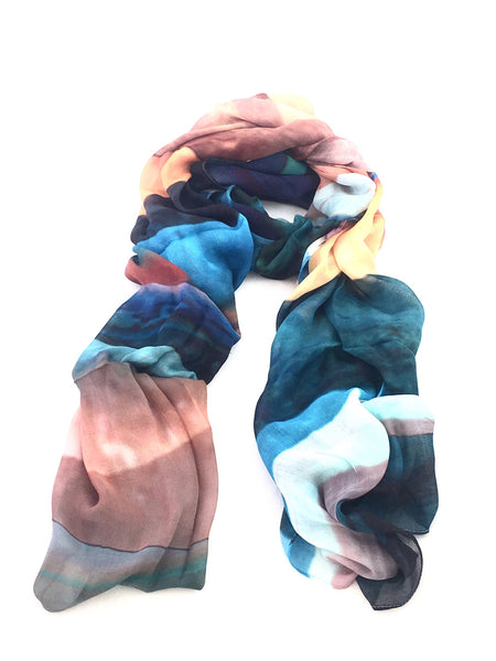 "Artist Label Scarf - ""Planet Stripes' Viscose Modal Scarf"