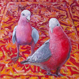 Two Galahs on William Morris Rug - Oil on Cradled MDF (41cm x 41cm x 4cm)