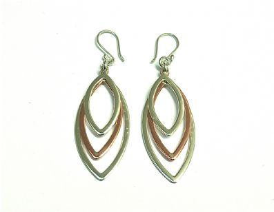 Silver & Copper 3 Leaves Earrings