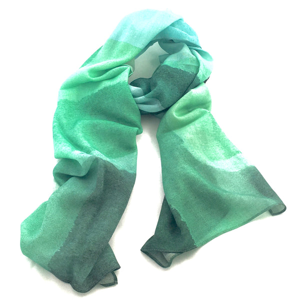 Pure Wool Art Scarf - Emerald