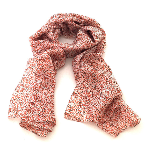 Pure Silk Scarf - Red /Orange/Green Dots