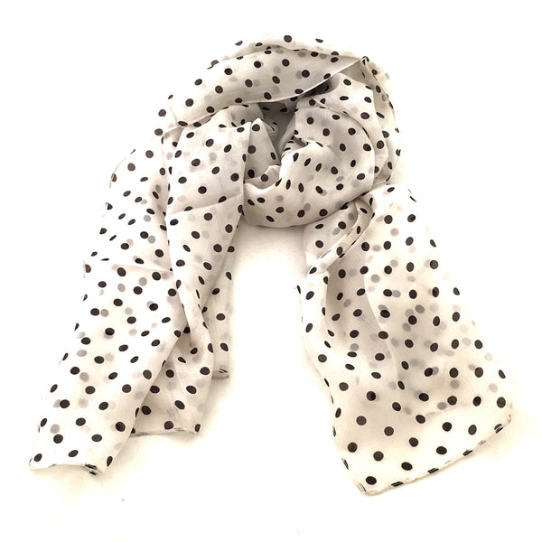 Pure Silk Scarf - Black Dots