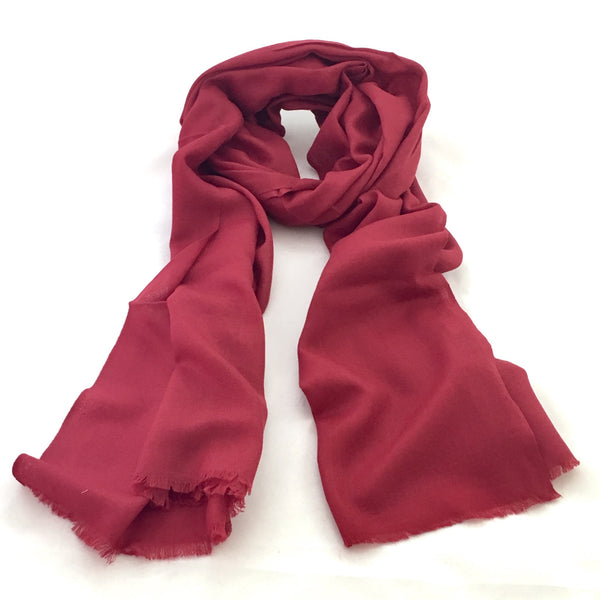 Pure Fine Wool Pashmina Scarf - Deep Red