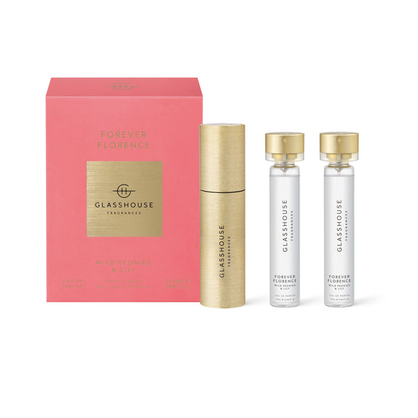 Glasshouse Eau de Parfum 3 Pack with Luxe Atomiser - Forever Florence