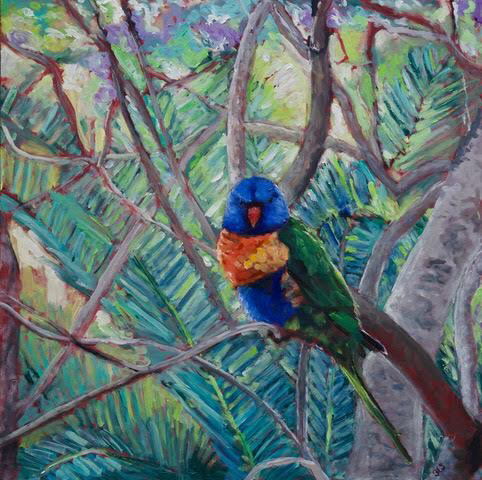 Waiting for Breakfast, Rainbow Lorrikeet, Oil on Cradled MDF (41cm x 41cm x 4 cm)