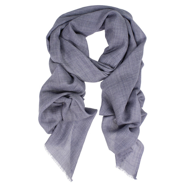 Wool/Silk Twill Wrap - Denim