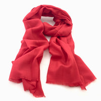 Pure Fine Wool Pashmina Scarf - Bright Red