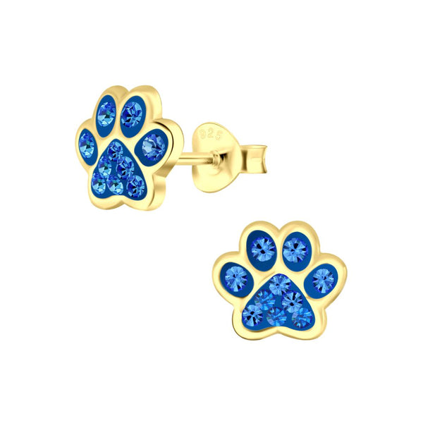 Sterling Silver Gold Plated Studs - Paws Blue