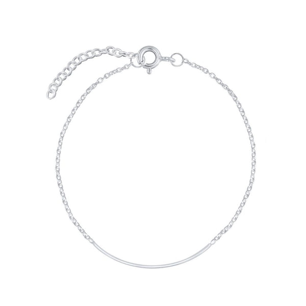 Silver Chain Bracelet with Silver Bar