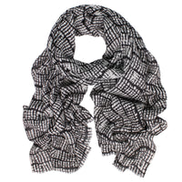 Panama Wool/Silk Scarf - Black/Cream