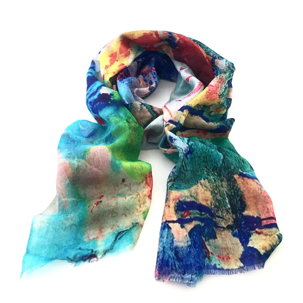 Wool & Silk Art Scarf - Coastal Cliffs