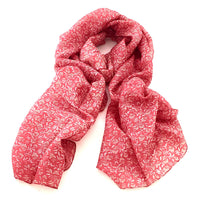 Pure Silk Scarf - Vine on Red