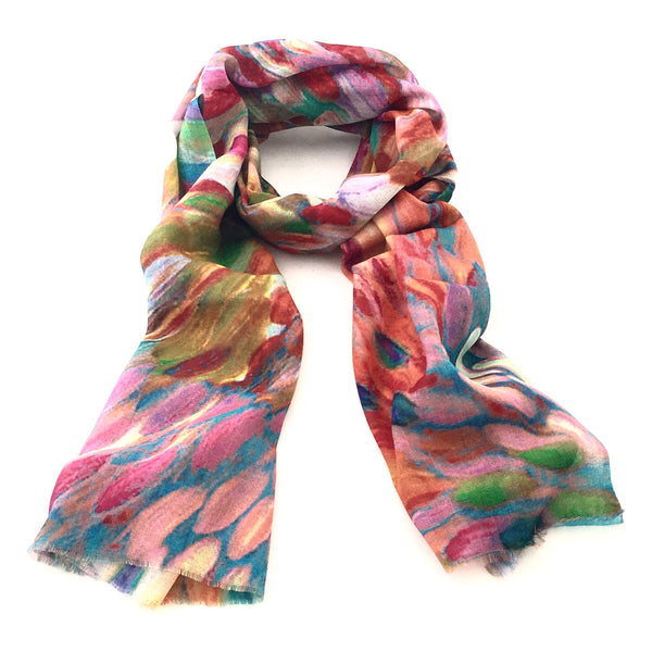 Wool & Silk Art Scarf - Colour Splash