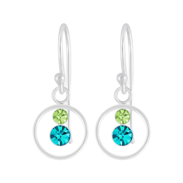 Silver & Crystal Circle Earrings - Turquoise/Green